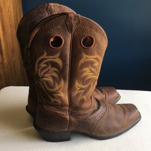 Justin square toed brown leather boots sz 11